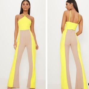 Yellow colorblock jumpsuit